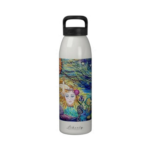 Earthly Delights fantasy art watercolor Reusable Water Bottles
