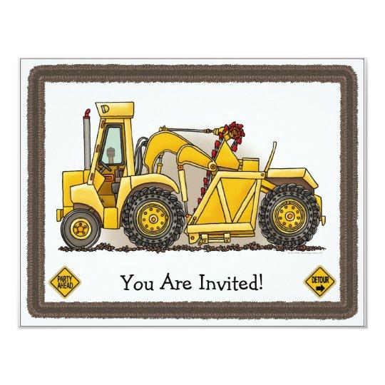 Earthmover Construction  Kids Party Invitation