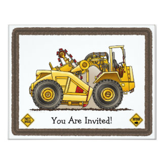 Earthmover Scraper Kids Party Invitation