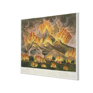 Earthquake and Eruption of the Mountain of Asama-y Canvas Print