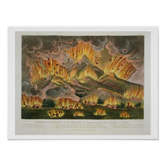 Earthquake and Eruption of the Mountain of Asama-y Poster