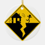 Earthquake Warning Merchandise and Clothing Double-Sided Ceramic Round Christmas Ornament