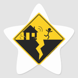 Earthquake Warning Merchandise and Clothing Star Sticker