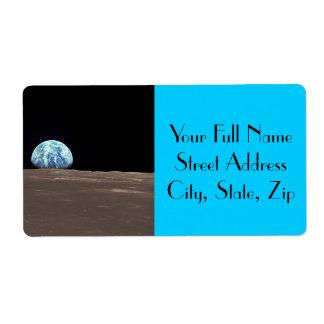 Earthrise de la luna etiquetas de envío