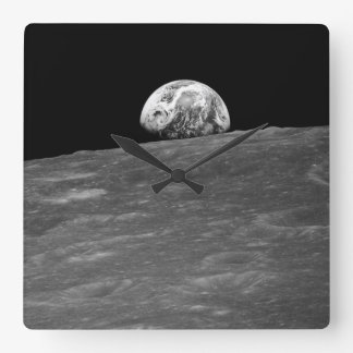 Earthrise from Apollo 8 Moon Mission Square Wall Clock