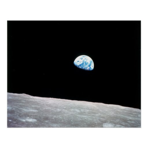 Earthrise from moon poster