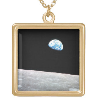 Earthrise - The Lunar Perspective Square Pendant Necklace