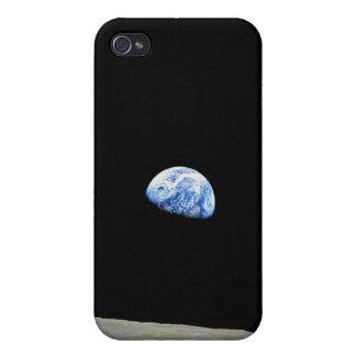 Earthrise Tierra vista de espacio iPhone 4 Protectores