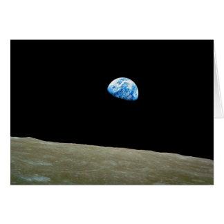 Earthrise tomado por la misión de Apolo 8 Tarjeta De Felicitación