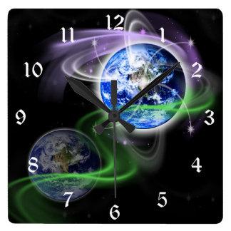 Earth's Ascension Square Wallclocks