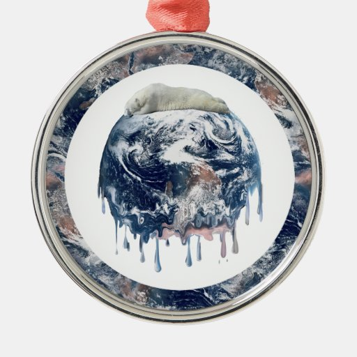 Earth's Bear Hug (With Earth Scene Trim) Round Metal Christmas Ornament