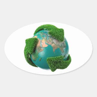 Earth's rotation oval sticker
