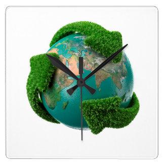 Earth's rotation square wall clock