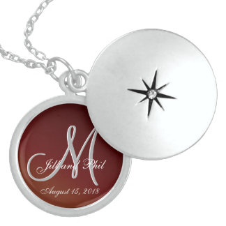 Earthtone 3d Monogram Red Sterling Silver Necklace