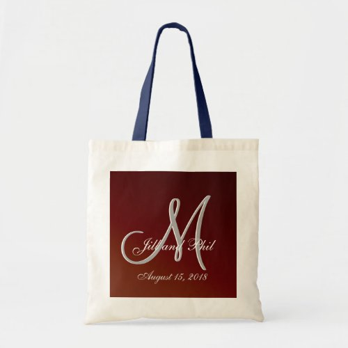 Earthtone 3d Monogram Red Tote Bag