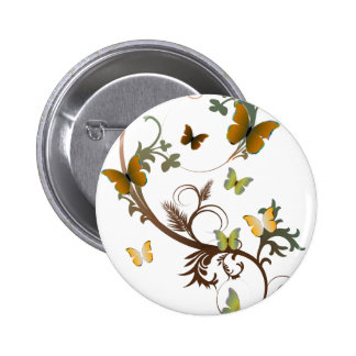 EarthTone Butterflies 2 Inch Round Button