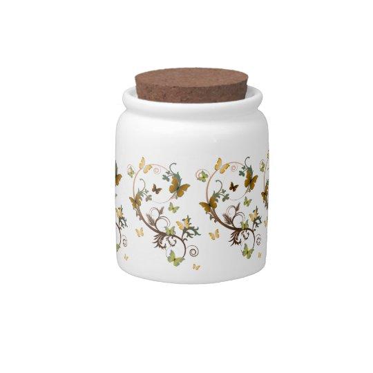 Earthtone Butterfly Candy Jar