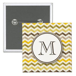 Earthtone Chevron Stripes with Round Monogram 2 Inch Square Button