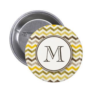 Earthtone Chevron Stripes with Round Monogram 2 Inch Round Button