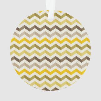 Earthtone Chevron Stripes with Round Monogram Ornament