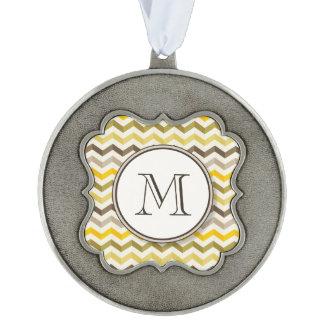 Earthtone Chevron Stripes with Round Monogram Pewter Ornament