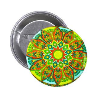 Earthtone Ethnic Look Mandala Pinback Button