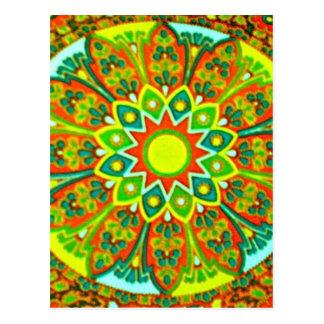 Earthtone Ethnic Look Mandala Postcard