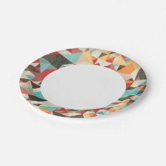 Earthtone Geometric Pattern 7 Inch Paper Plate