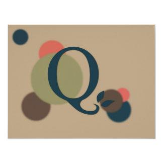 Earthtone Monogram Letter Q Flat Note Cards