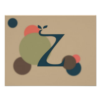 Earthtone Monogram Letter Z Flat Note Cards Personalized Invitations