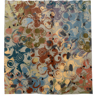Earthtone Swirl Shower Curtain