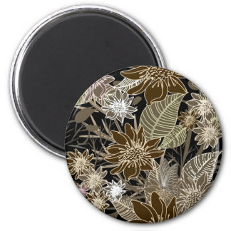 Earthtone Tropical Flowers, Leaves & Butterflies 2 Inch Round Magnet