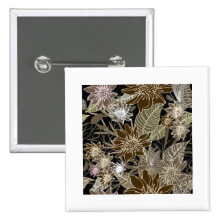 Earthtone Tropical Flowers, Leaves & Butterflies 2 Inch Square Button