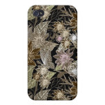 Earthtone Tropical Flowers, Leaves & Butterflies Case For iPhone 4