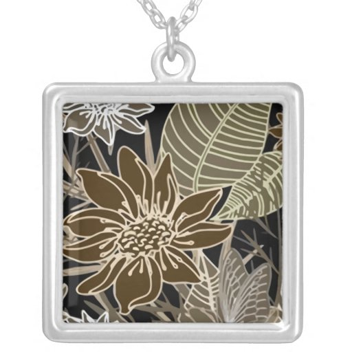 Earthtone Tropical Flowers, Leaves & Butterflies Square Pendant Necklace