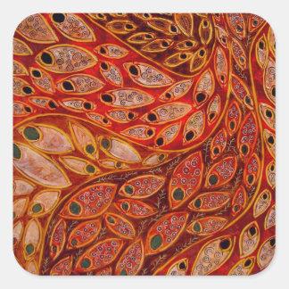 earthtone water peacocks (painting) sticker