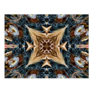 Earthtones floral kaleidoscope post card