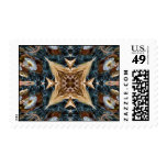 Earthtones floral kaleidoscope postage stamps