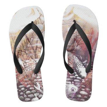 Beach Themed Earthtones Koi Flip Flops