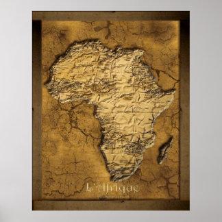Earthy 2D Africa Map Art Poster