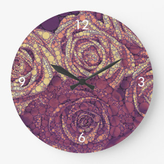 Earthy Abstract Roses Large Clock