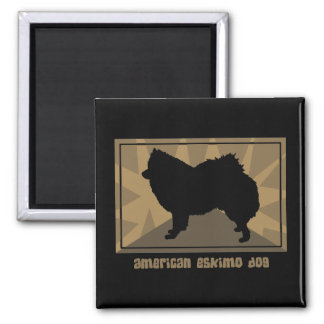 Earthy American Eskimo Dog Gifts 2 Inch Square Magnet