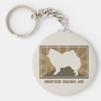 Earthy American Eskimo Dog Gifts Keychain