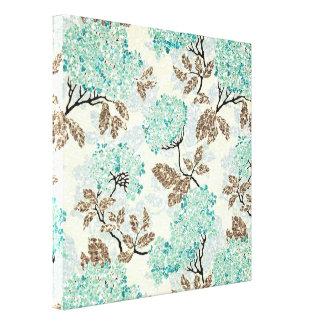 Earthy Aqua Glittery Floral Canvas Print