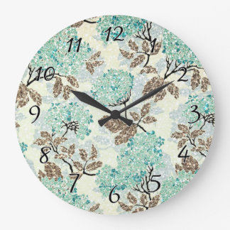 Earthy Aqua Glittery Floral Large Clock