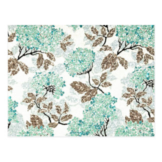 Earthy Aqua Glittery Floral Postcard
