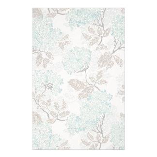 Earthy Aqua Glittery Floral Stationery