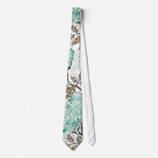 Earthy Aqua Glittery Floral Tie
