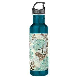 Earthy Aqua Glittery Floral Water Bottle