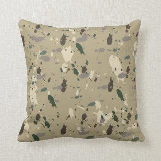 Earthy Beige Camo Nature Colors Paint Splatter Throw Pillow